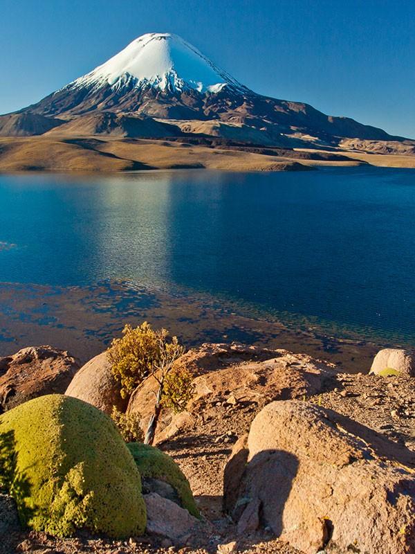 Lago Chungará en el norte de Chile, Parque Nacional Lauca