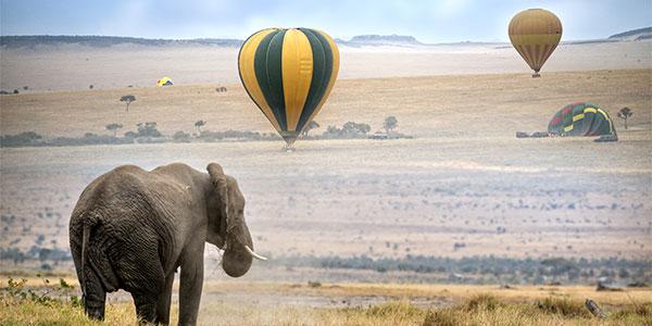 Safari en globo sobre la sabana de Kenia