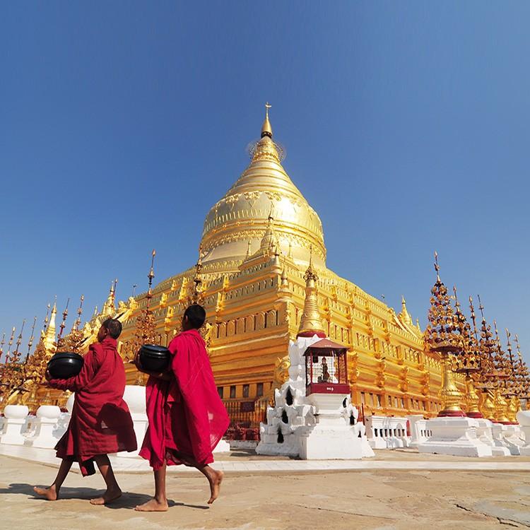 pagoda de Shwezigon, luna de miel en Myanmar