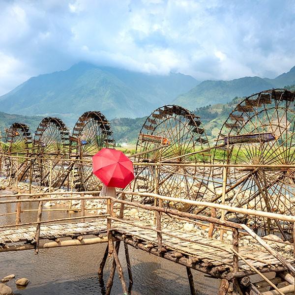 Ruedas de agua en Pu Luong, Vietnam