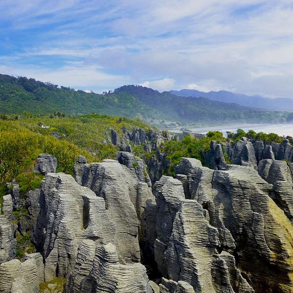 Fly & drive Nueva Zelanda, Pankake Rocks en Punakaiki
