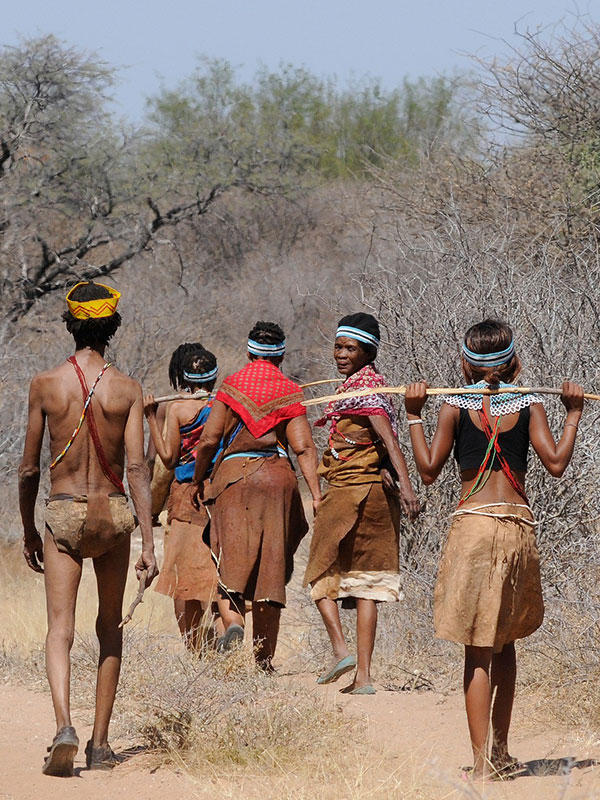 aldea de D'Kar del pueblo san en Botsuana