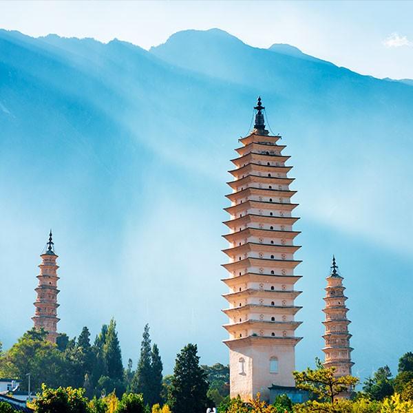 Visita a las Tres Pagodas del Templo Chongsheng en el viaje a Yunnan y Sichuan