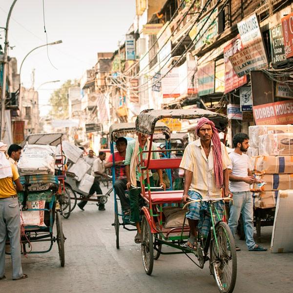 Rickshaw en Delhi, India