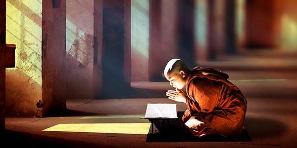 Monje budista en monasterio