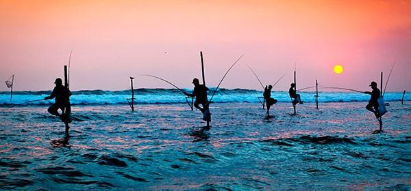 Pescadores en Galle, Sri Lanka